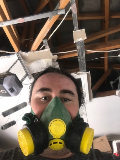 Dust masks aren't optional, even minutes after the last bit of the Gyprock has dropped.